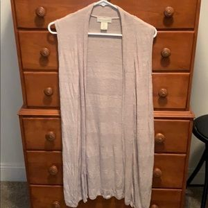 Tank Cardigan Knee Lengthened Sweater with Slit